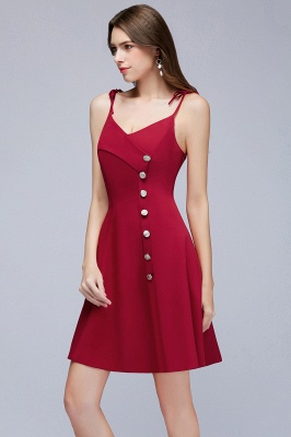 MALVINA | A-line Short V-neck Spaghetti Burgundy Homecoming Dresses with Buttons_9