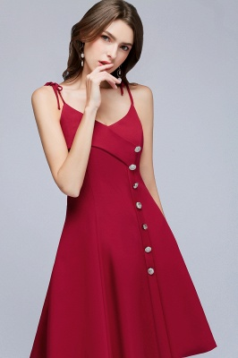 MALVINA | A-line Short V-neck Spaghetti Burgundy Homecoming Dresses with Buttons_4