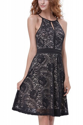 Women's Halter Floral Lace Cocktail Party Dress Homecoming Dress_12
