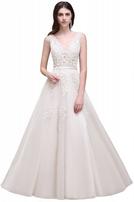 ADDYSON | A-line Floor-length Lace Tulle Wedding Dress with Appliques_15