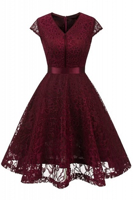Women's Vintage 1950s Short Sleeve A-Line Cocktail Party Swing Dress with Floral Lace_8