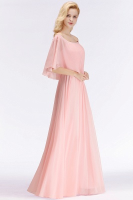 A-line Long Off-the-shoulder Pink Bridesmaid Dresses with Sleeves_2