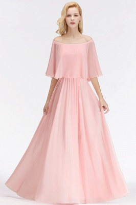 A-line Long Off-the-shoulder Pink Bridesmaid Dresses with Sleeves_7