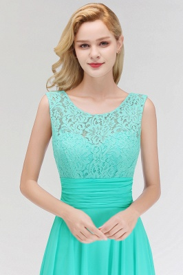 MACY | A-line Floor Length Lace Top Sleeveless Chiffon Bridesmaid Dresses_9