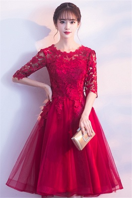 A-line Half sleeves Short Burgundy Appliques Tulle Homecoming Dresses_8