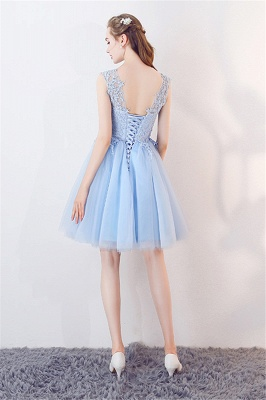 A-line Sleeveless Short Appliqued Top Tulle Homecoming Dresses_3