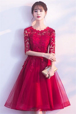 A-line Half sleeves Short Burgundy Appliques Tulle Homecoming Dresses_4