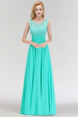 MACY | A-line Floor Length Lace Top Sleeveless Chiffon Bridesmaid Dresses_8
