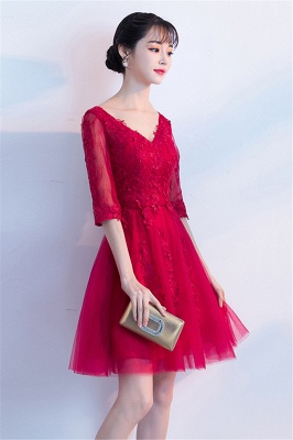 A-line V-neck Half Sleeves Tulle Appliques Homecoming Dresses_8