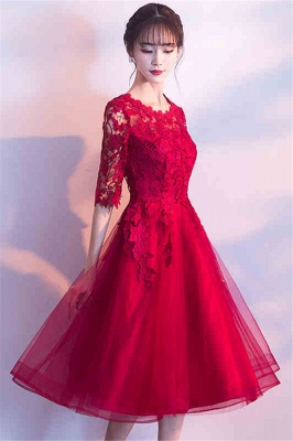 A-line Half sleeves Short Burgundy Appliques Tulle Homecoming Dresses_2