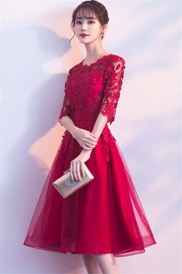 A-line Half sleeves Short Burgundy Appliques Tulle Homecoming Dresses_7