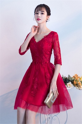 A-line V-neck Half Sleeves Tulle Appliques Homecoming Dresses_4