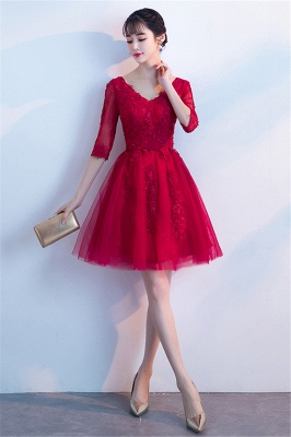 A-line V-neck Half Sleeves Tulle Appliques Homecoming Dresses_5