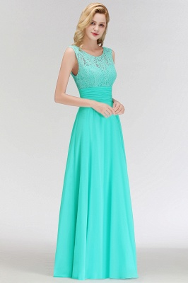 MACY | A-line Floor Length Lace Top Sleeveless Chiffon Bridesmaid Dresses_4