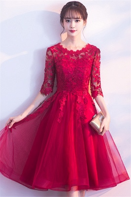 A-line Half sleeves Short Burgundy Appliques Tulle Homecoming Dresses_6