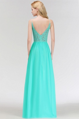 MADELEINE | A-line Keyhole Neckline Lace Top Long Spaghetti Bridesmaid Dresses_5