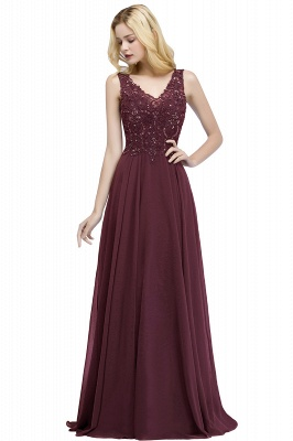 PATRICIA | A-line V-neck Sleeveless Long Appliqued Chiffon Prom Dresses with Crystals_1