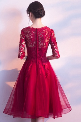 A-line Half sleeves Short Burgundy Appliques Tulle Homecoming Dresses_3