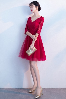 A-line V-neck Half Sleeves Tulle Appliques Homecoming Dresses_6