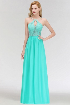 MADELEINE | A-line Keyhole Neckline Lace Top Long Spaghetti Bridesmaid Dresses_9