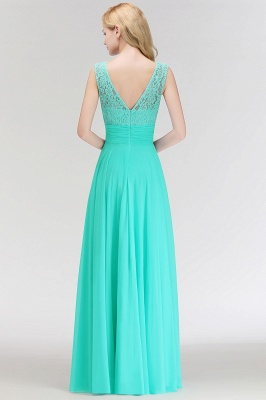 MACY | A-line Floor Length Lace Top Sleeveless Chiffon Bridesmaid Dresses_5