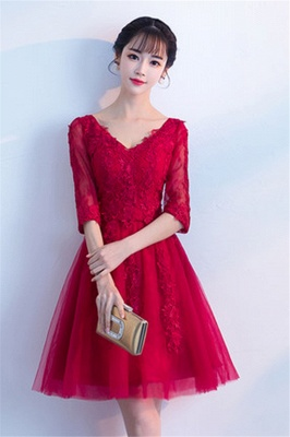 A-line V-neck Half Sleeves Tulle Appliques Homecoming Dresses_2