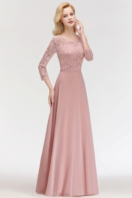 MARIAN | A-line Floor Length Lace Chiffon Bridesmaid Dresses with Sleeves_7