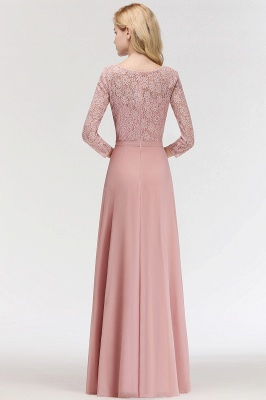 MARIAN | A-line Floor Length Lace Chiffon Bridesmaid Dresses with Sleeves_4
