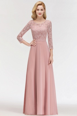 MARIAN | A-line Floor Length Lace Chiffon Bridesmaid Dresses with Sleeves_5