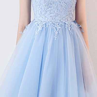 A-line Sleeveless Short Appliqued Top Tulle Homecoming Dresses_7