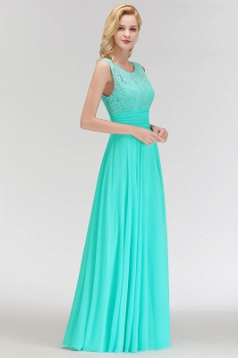 MACY | A-line Floor Length Lace Top Sleeveless Chiffon Bridesmaid Dresses_6