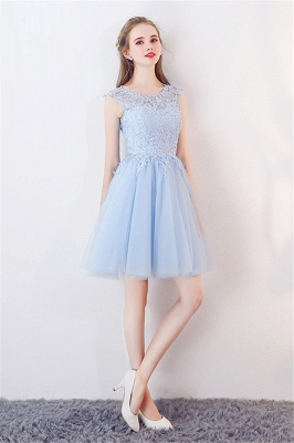 A-line Sleeveless Short Appliqued Top Tulle Homecoming Dresses_4