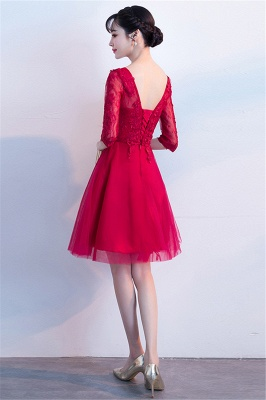 A-line V-neck Half Sleeves Tulle Appliques Homecoming Dresses_3