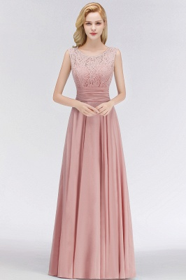 MACY | A-line Floor Length Lace Top Sleeveless Chiffon Bridesmaid Dresses_1
