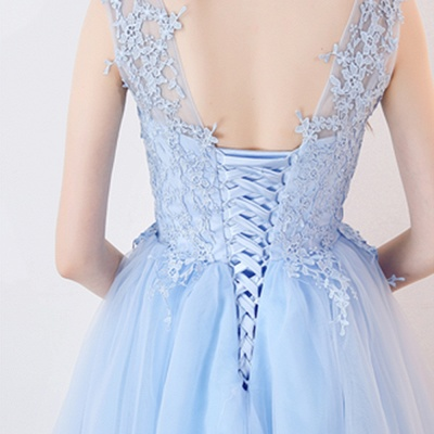 A-line Sleeveless Short Appliqued Top Tulle Homecoming Dresses_9