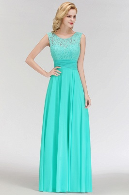 MACY | A-line Floor Length Lace Top Sleeveless Chiffon Bridesmaid Dresses_7