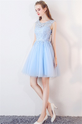 A-line Sleeveless Short Appliqued Top Tulle Homecoming Dresses_6