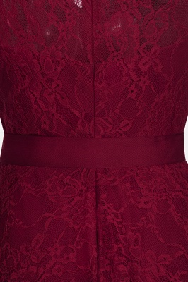 A-line Sleeveless Burgundy Lace Dresses with Bow_10