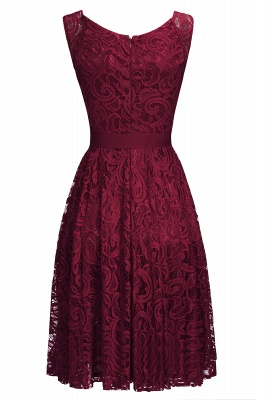 Simple Sleeveless A-line Red Lace Dresses with Ribbon Bow_5
