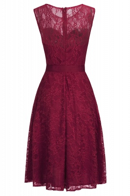 A-line Sleeveless Burgundy Lace Dresses with Bow_6