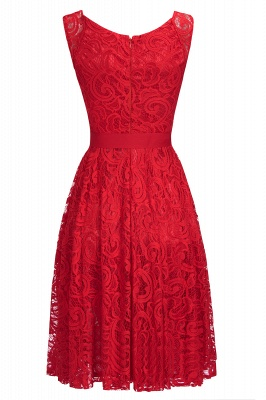 Simple Sleeveless A-line Red Lace Dresses with Ribbon Bow_7