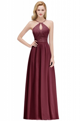 MADELEINE | A-line Keyhole Neckline Lace Top Long Spaghetti Bridesmaid Dresses_2
