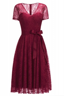 V-neck Short Sleeves Lace Dresses with Bow Sash_2