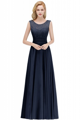 MACY | A-line Floor Length Lace Top Sleeveless Chiffon Bridesmaid Dresses_3