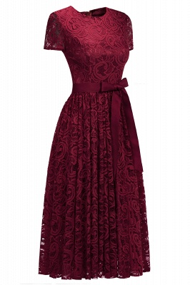 Short Sleeves Seath Red Lace Dresses with Ribbon Bow_4