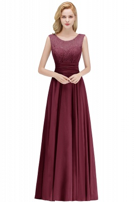 MACY | A-line Floor Length Lace Top Sleeveless Chiffon Bridesmaid Dresses_2