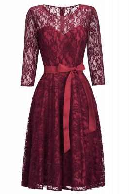 Vintage A-line Burgundy Lace Dresses with Sleeves_5