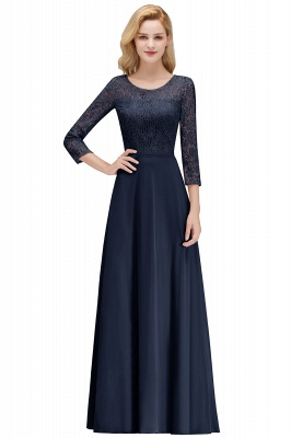 MARIAN | A-line Floor Length Lace Chiffon Bridesmaid Dresses with Sleeves_2