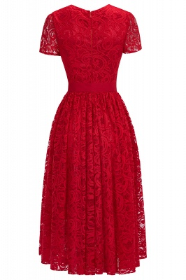 Short Sleeves Seath Red Lace Dresses with Ribbon Bow_11