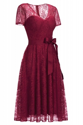 V-neck Short Sleeves Lace Dresses with Bow Sash_11